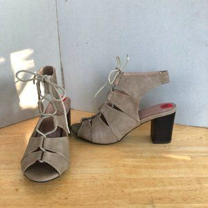 Restricted Laced Peep toe ankle strap Sandals